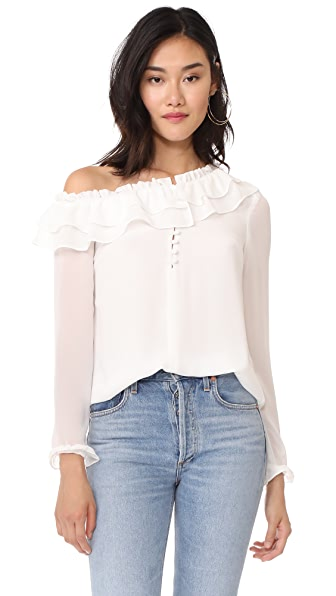 WAYF Karyna One Shoulder Top In Ivory