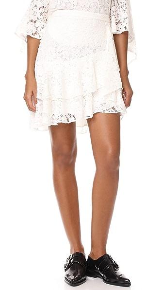 WAYF Clark Ruffle Skirt - Ivory
