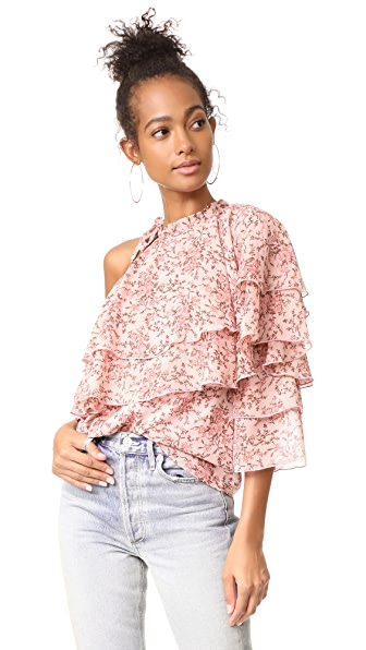 WAYF Colton Tiered One Shoulder Top In Blush Floral