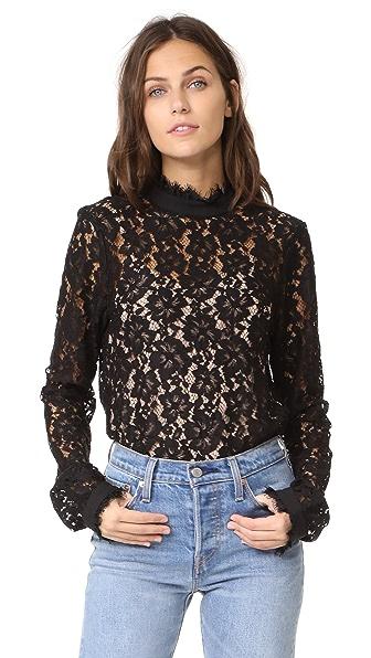 WAYF Berklin Lace Top In Black Lace