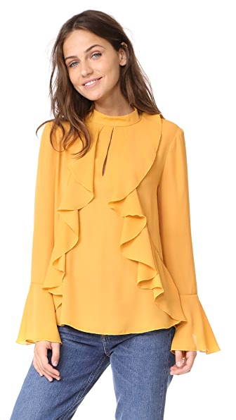 WAYF Mansel Ruffle Blouse In Gold