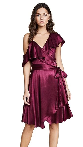 WAYF Rachelle Wrap Dress In Wine