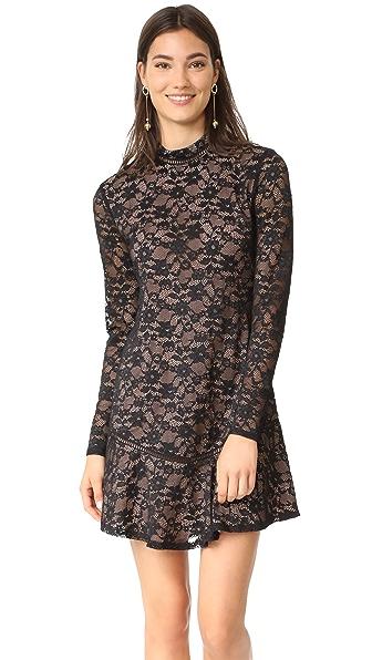 WAYF Julie Mock Neck Lace Dress - Black Lace
