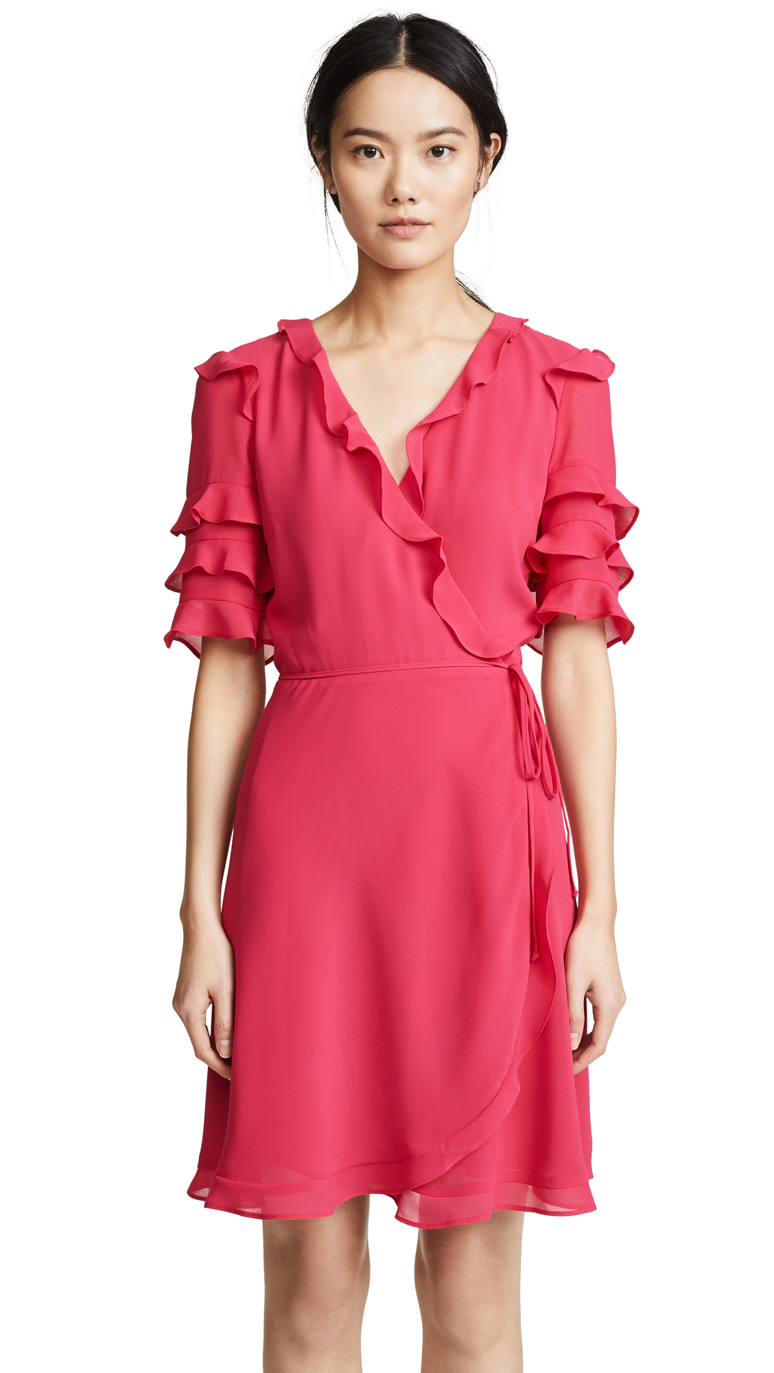 WAYF Kiefer Ruffle Mini Dress In Magenta
