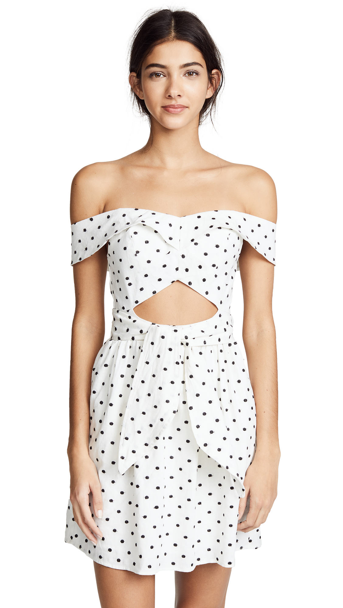 WAYF Capri Knotted Cutout Mini Dress In Ivory Polka Dot