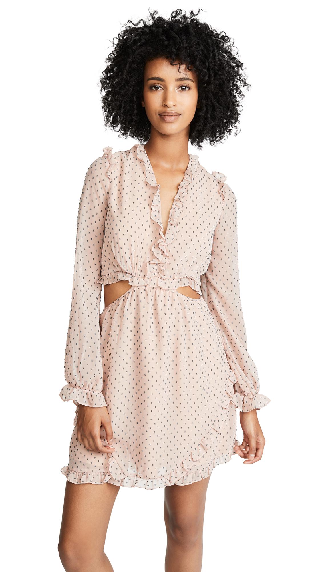 WAYF Allegria Dress In Blush Clip Dot