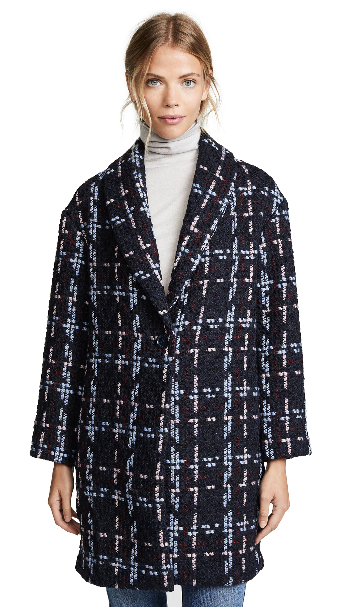 WAYF Valmont Oversized Cocoon Coat - Navy Boucle