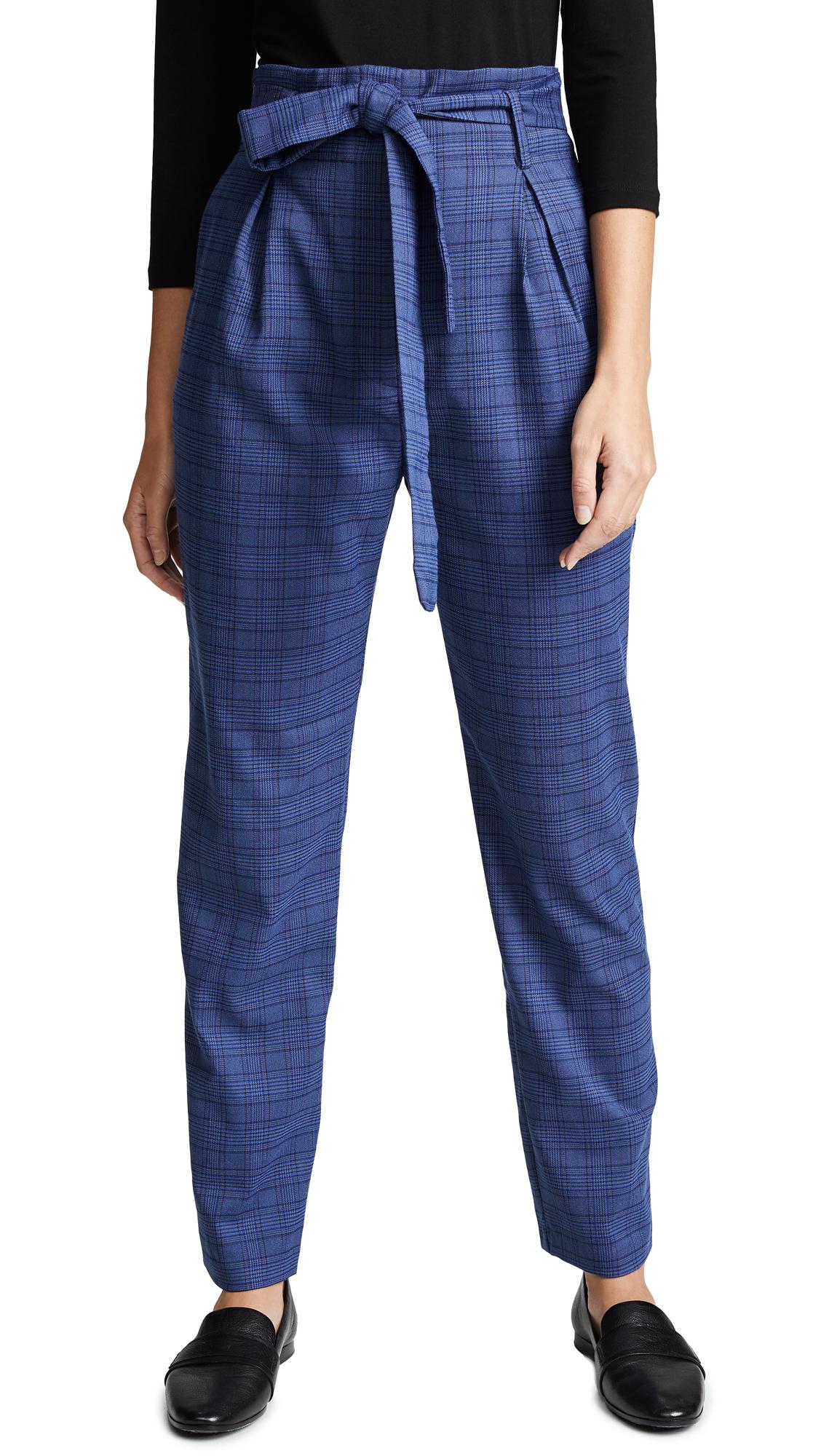 WAYF Randell Paperbag Waist Pants - Navy Tweed