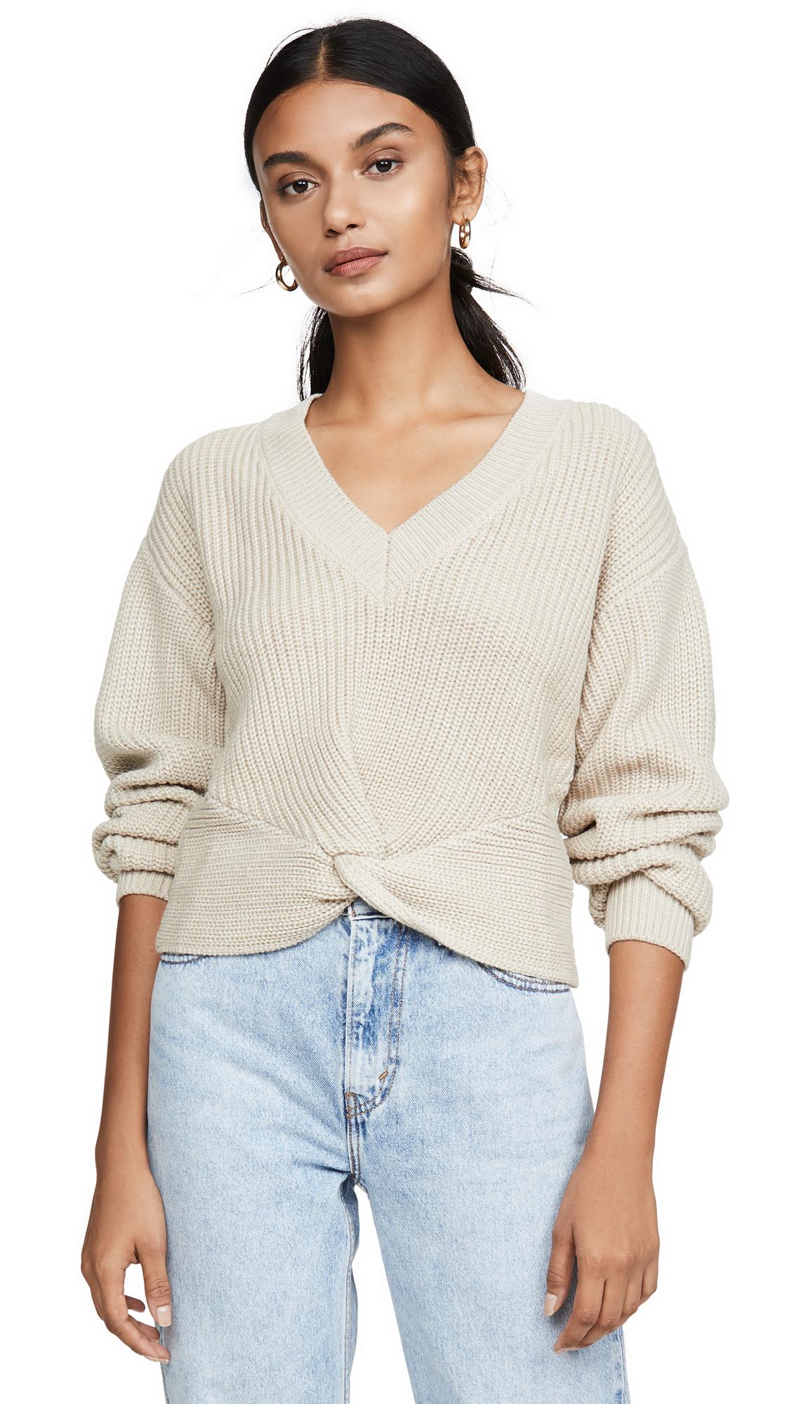 Buy WAYF online - photo of WAYF Varsity Knot Front Sweater
