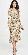 WAYF Nassau 层褶中长荷叶边连衣裙