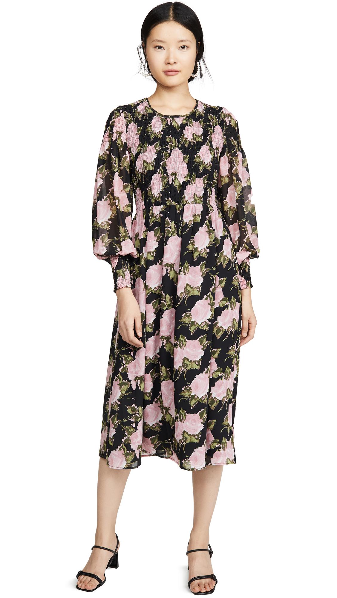 Buy WAYF online - photo of WAYF Crushed Smocked Bodice Midi Dress