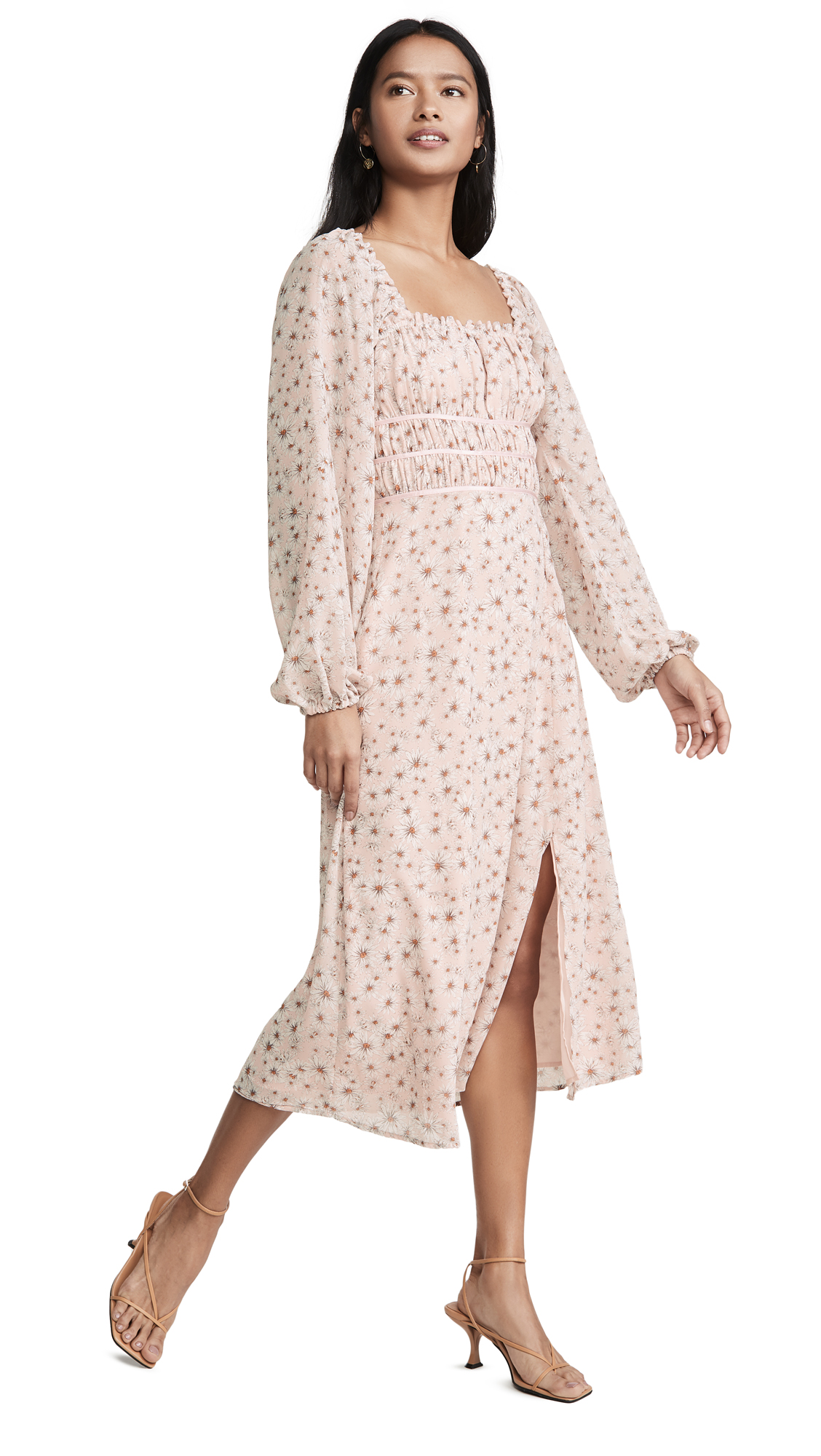 Buy WAYF online - photo of WAYF Liza Long Sleeve Smocked Midi Dress