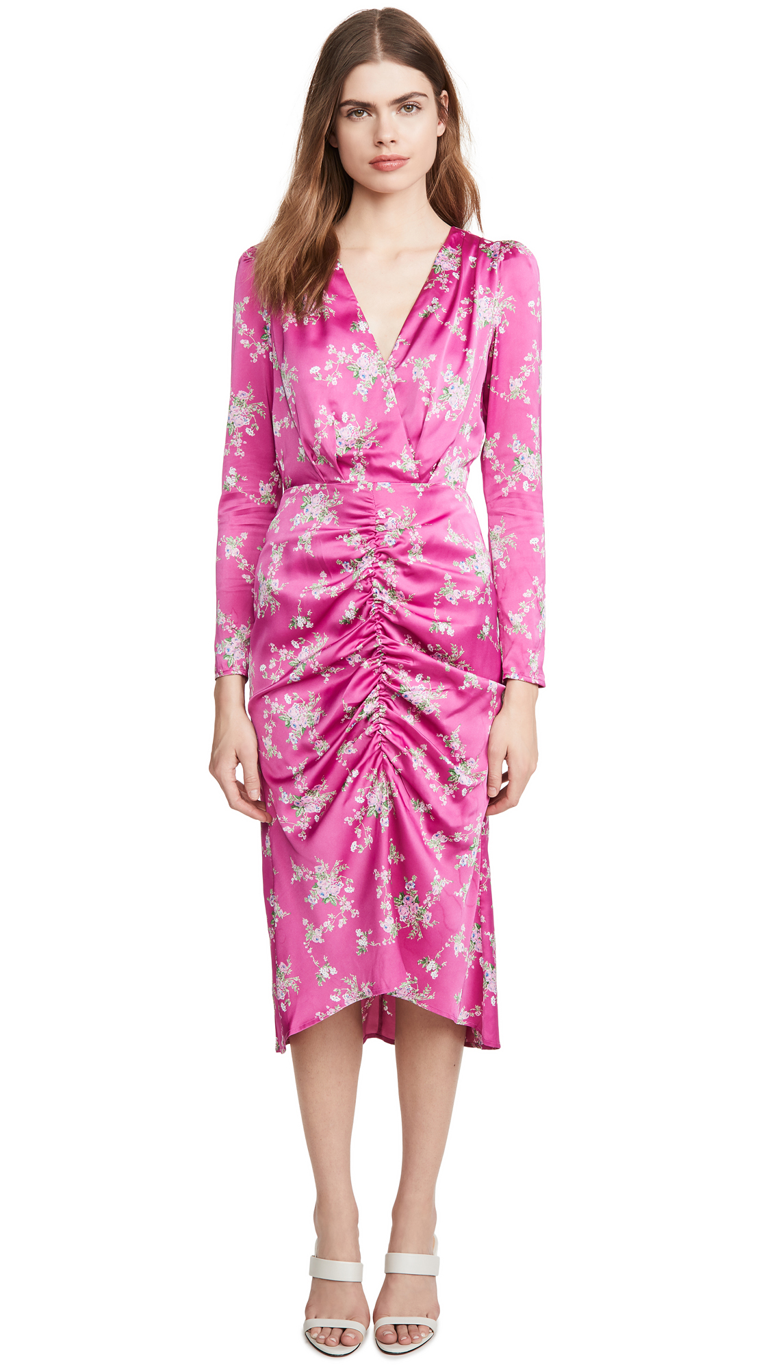 Buy WAYF online - photo of WAYF Ronnie Ruched Midi Dress
