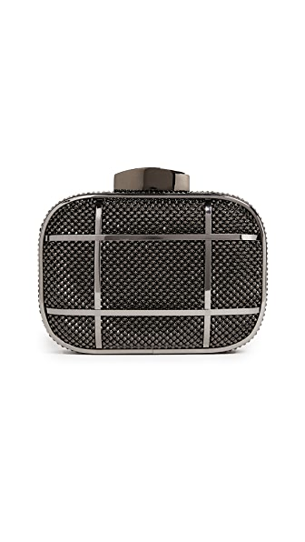Whiting & Davis Cage Minaudiere Clutch - Gunmetal