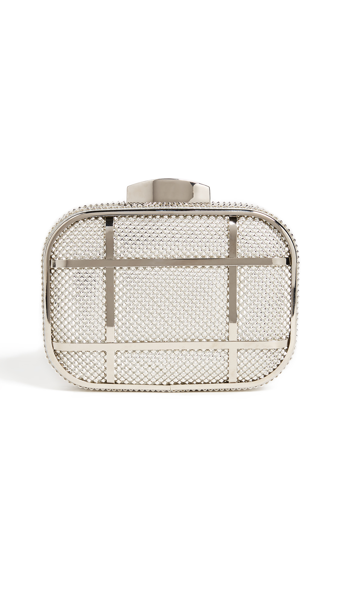 Whiting & Davis Cage Minaudiere Clutch - Silver