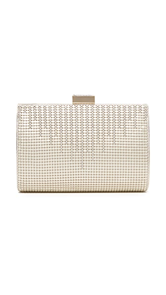 Whiting & Davis Crystal Drip Clutch In Pearl