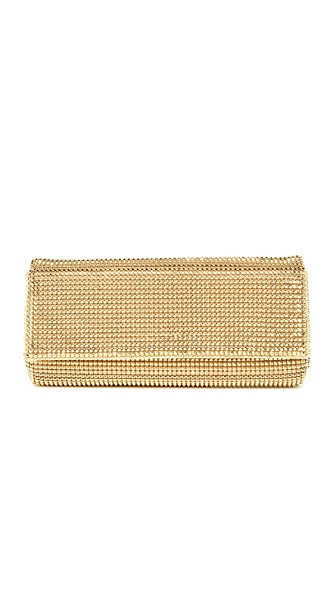 Whiting & Davis Pyramid Mesh Clutch - Gold