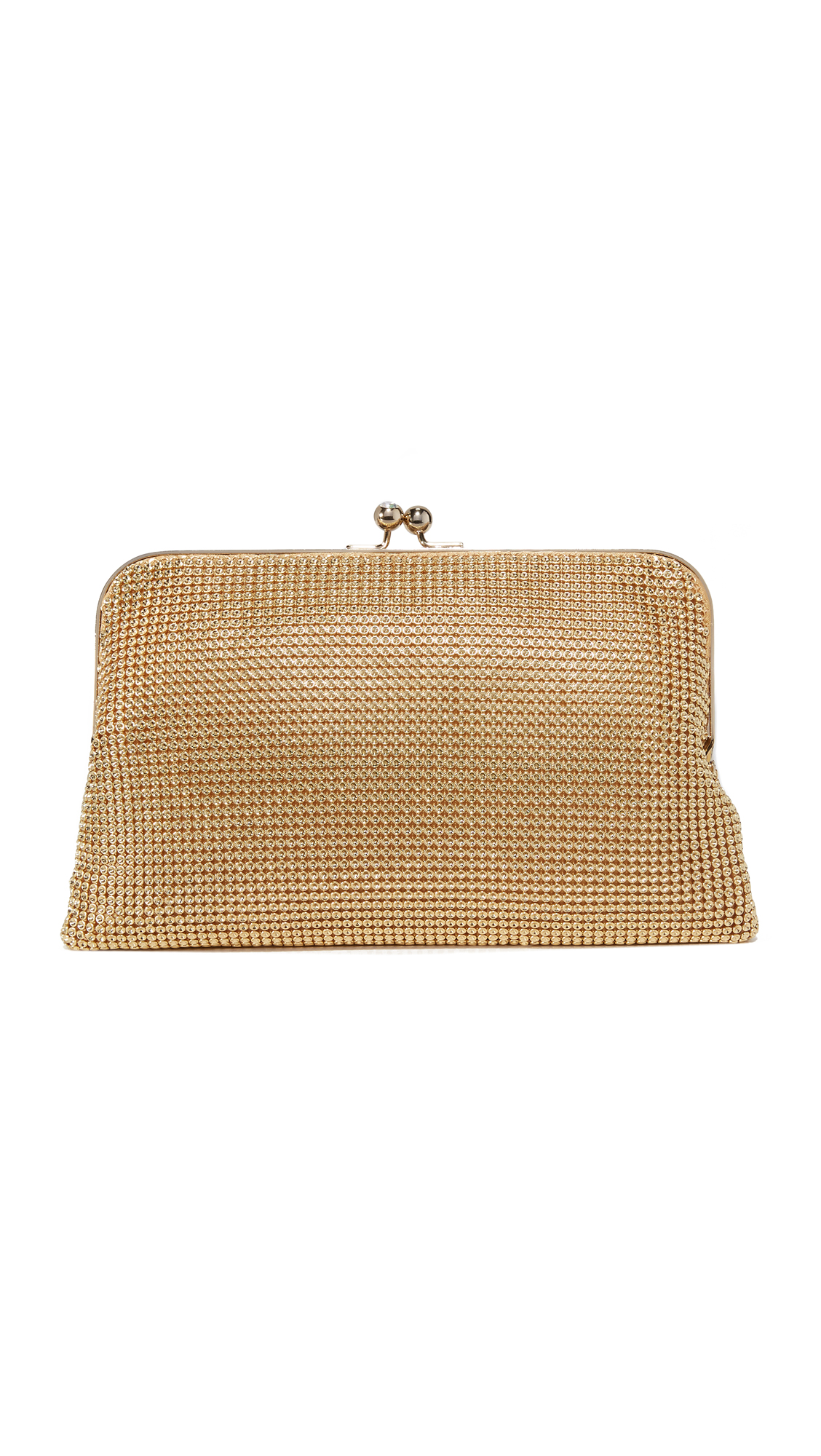 whiting davis female whiting davis dimple mesh clutch gold