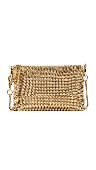 Whiting & Davis Pyramid Mesh Cross Body Bag - Gold
