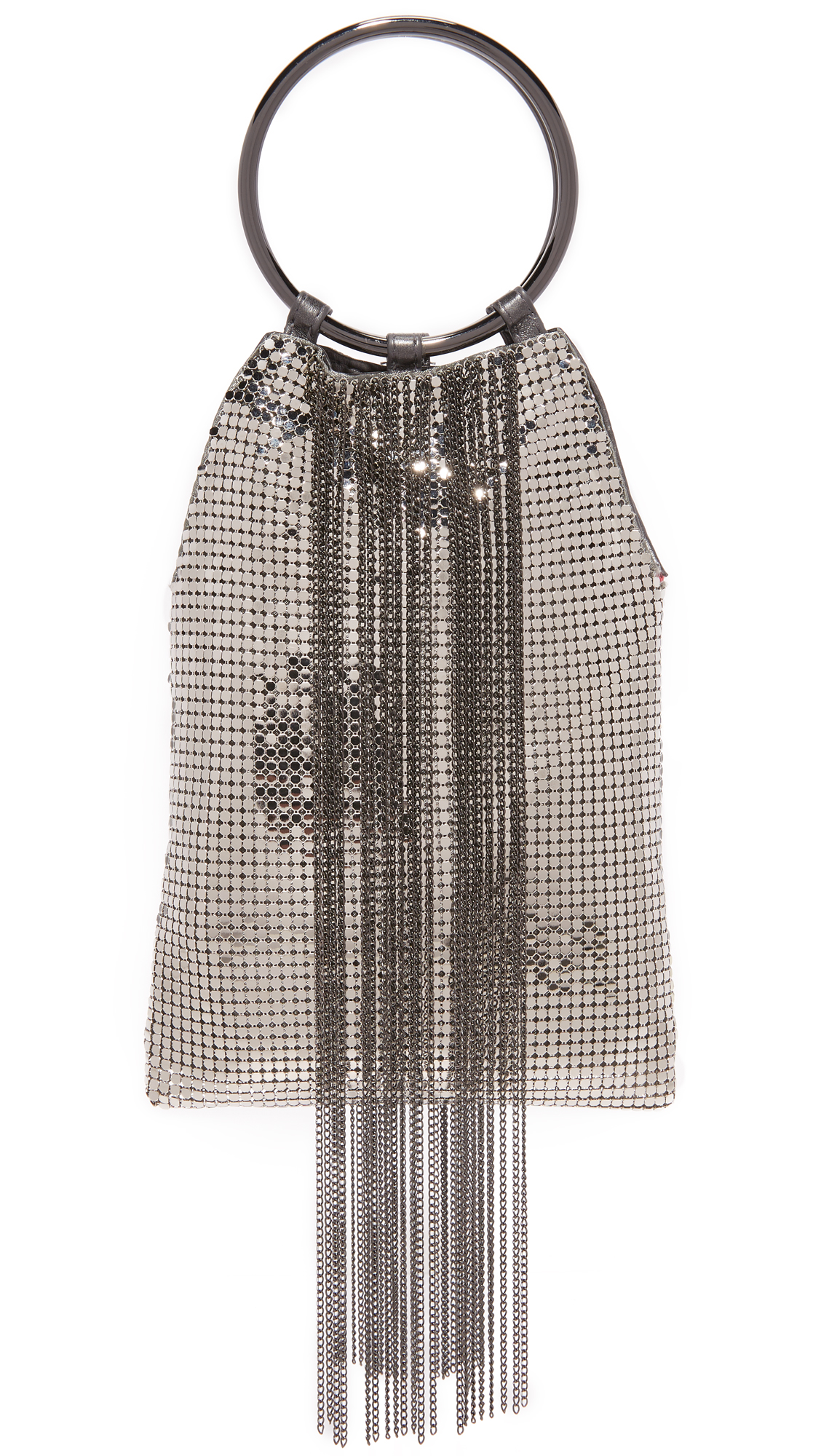 A slouchy Whiting & Davis pouch, rendered in metal mesh and accented with cascading fringe. Magnetic top and lined, 1 pocket interior. Metal handles. Fabric: Metal mesh. Weight: 7oz / 0.2kg. Imported, China. Measurements Height: 7.75in / 20cm Length: 5.5in / 14