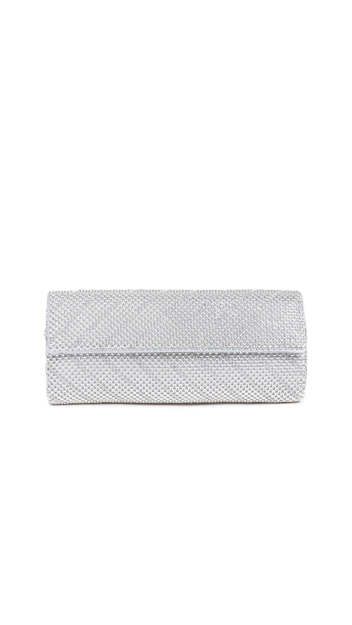 Whiting & Davis Crystal Chevron Clutch - Silver