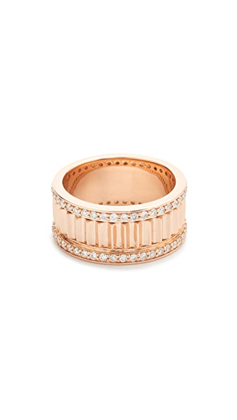 Walters Faith Clive Small Diamond Fluted Band Ring - Rose Gold/Clear