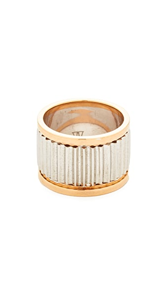 Walters Faith Clive Large Fluted Band Ring In Silver/Rose Gold
