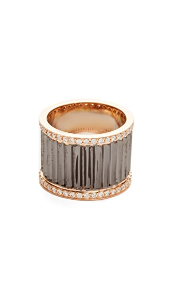 Walters Faith Clive Wide Diamond Fluted Band Ring In Rhodium/Rose Gold/Clear