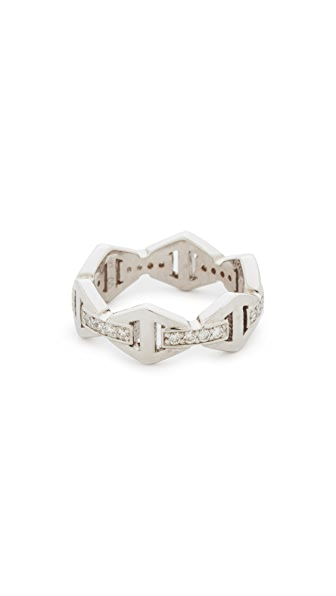 Walters Faith Keynes Diamond Hexagon Stackable Ring In White Gold/Clear