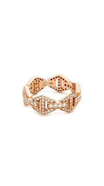 Walters Faith Keynes All Diamond Hexagon Stackable Ring - Rose Gold/Clear