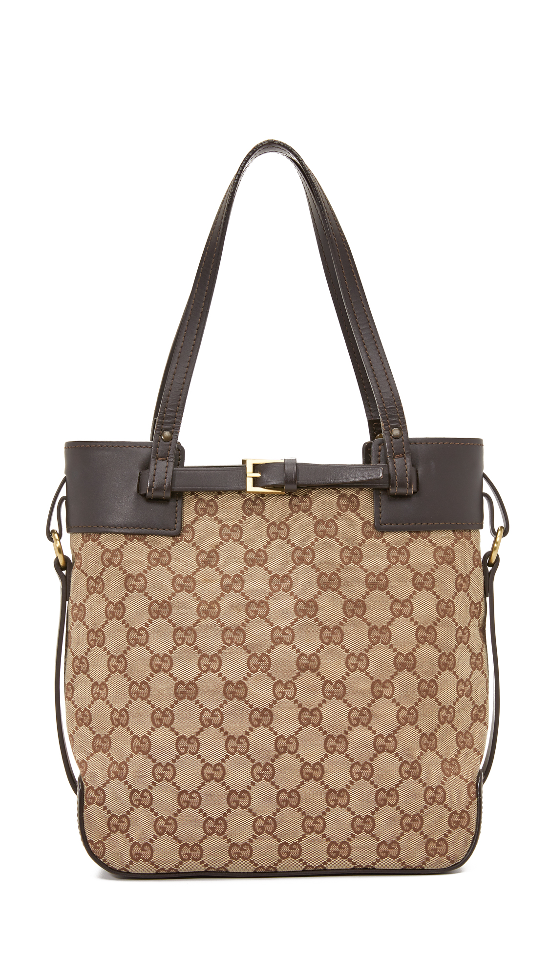 what goes around comes around female what goes around comes around gucci buckle tote previously owned brown