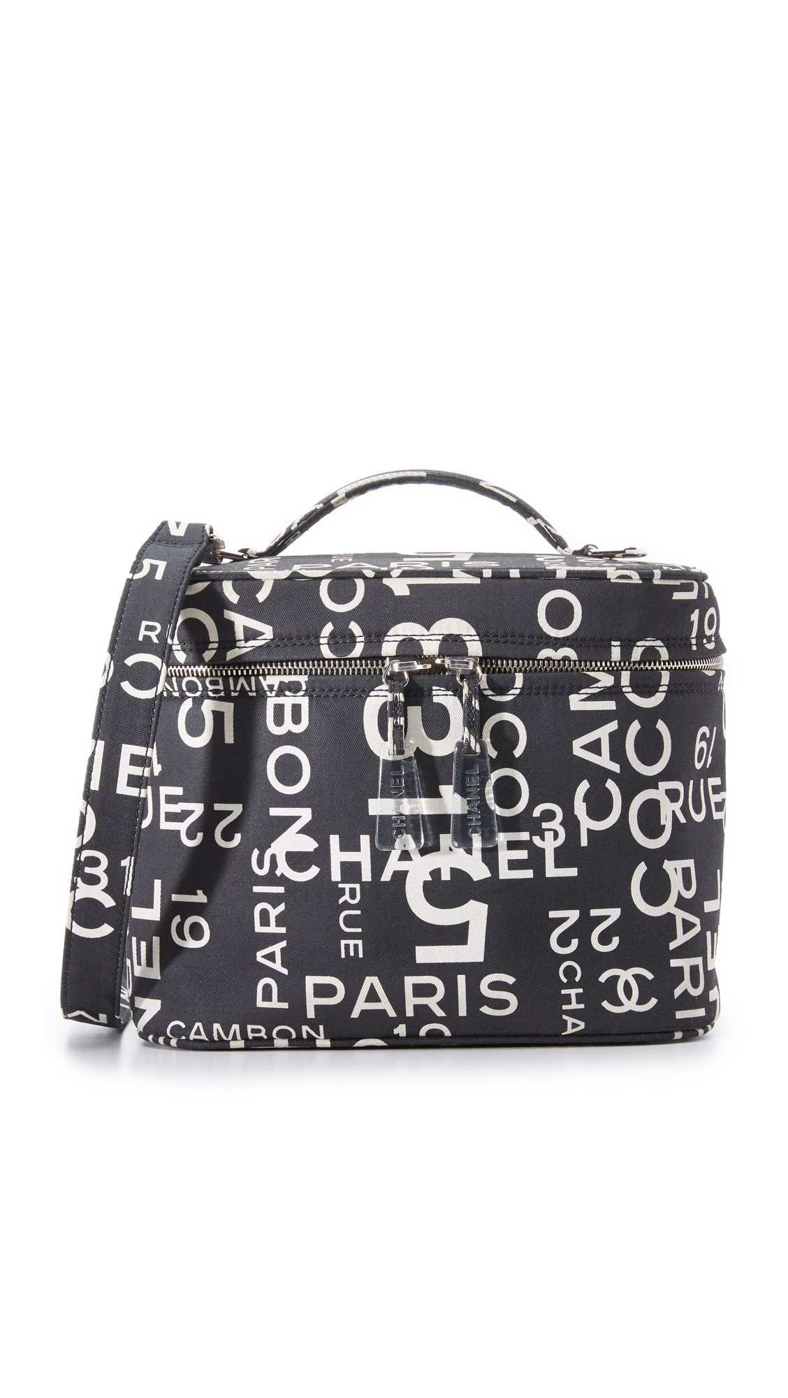 what goes around comes around female what goes around comes around chanel canvas vanity bag previously owned blackwhite