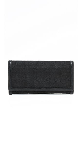 What Goes Around Comes Around Gucci Canvas Long Wallet (Previously Owned)