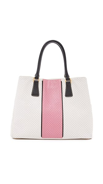 What Goes Around Comes Around Prada Perforated Saffiano Tote Bag (Previously Owned) - White/Pink