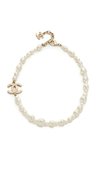 What Goes Around Comes Around Chanel Imitation Pearl Cc Necklace (Previously Owned) - White/Gold