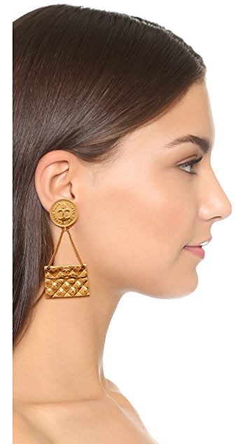 What Goes Around Comes Around Chanel Quilted Flap Bag Earrings (Previously Owned)
