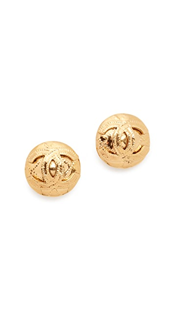 What Goes Around Comes Around Chanel Quilted Round Earrings (Previously Owned)