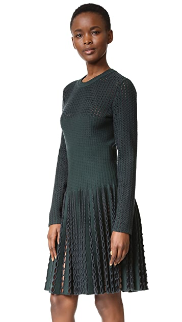 What Goes Around Comes Around Alaia Long Sleeve Eyelet Dress (Previously Owned)