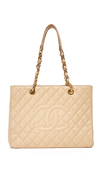 What Goes Around Comes Around Chanel CC Quilted Tote (Previously Owned) - Beige