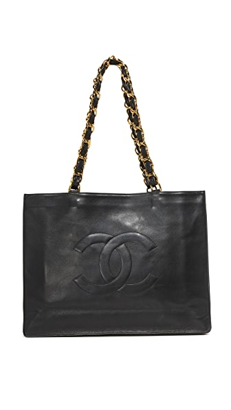 What Goes Around Comes Around Chanel Chain Tote (Previously Owned) - Black