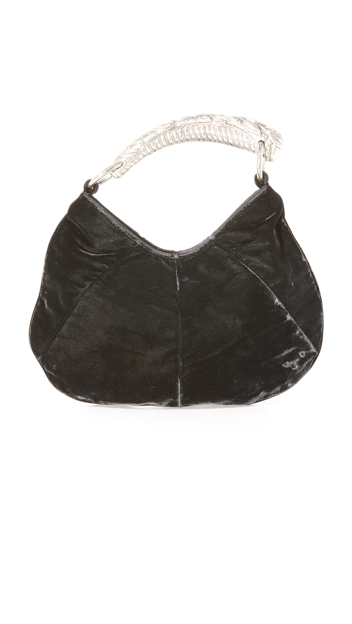 An tusk shaped, oxidized metal handle details this previously owned YSL handbag, crafted in soft velvet. Snap closure and satin lining. Dust bag included. Fabric: Velvet. Weight: 8oz / 0.23kg. Made in Italy. NOTE: Gentle wear should