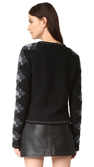 What Goes Around Comes Around Argyle Sleeve Zip Cardigan (Previously Owned)