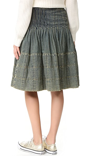 what goes around comes around chanel pleated denim skirt