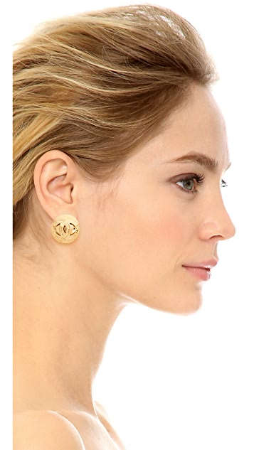 What Goes Around Comes Around Chanel CC Quilted Earrings (Previously Owned)