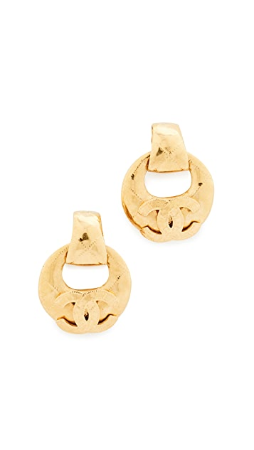 What Goes Around Comes Around Chanel CC Quilted Hoop Earrings (Previously Owned)