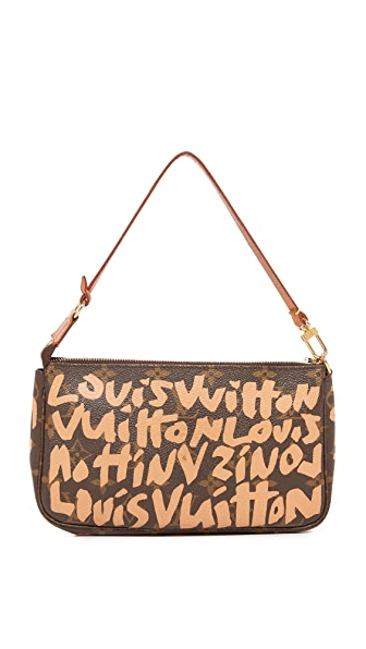 What Goes Around Comes Around Louis Vuitton Beige Sprouse Pouchette (Previously Owned) In Brown