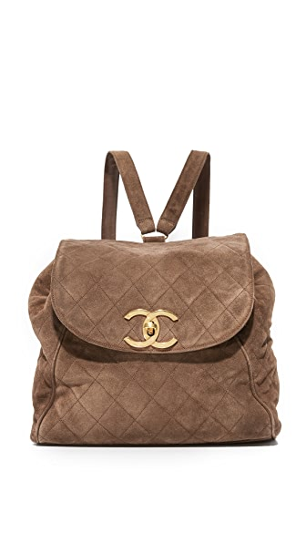 What Goes Around Comes Around Chanel Suede Backpack (Previously Owned) - Brown