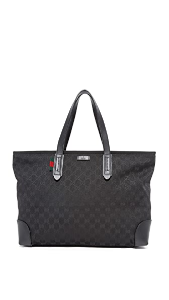 What Goes Around Comes Around Gucci Canvas GG Tote (Previously Owned) In Black