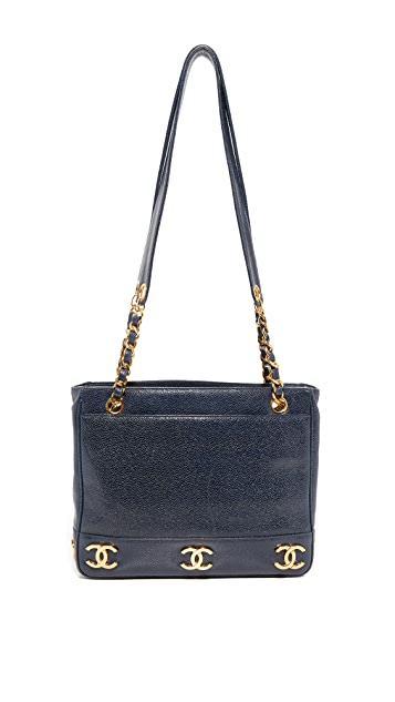 What Goes Around Comes Around Chanel Navy Caviar CC Tote (Previously Owned)