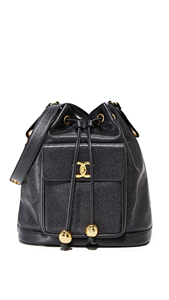 What Goes Around Comes Around Chanel Caviar Bucket Bag (Previously Owned) - Black